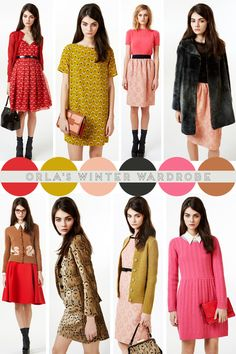 Orlas winter wardrobe - ochre, peachy pink and brown.  This is really cute but would not be practical/warm enough for winters in Baltimore.