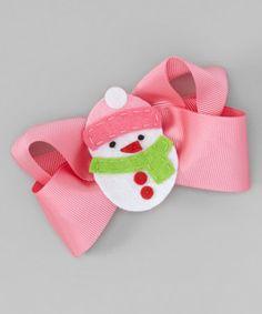Look what I found on #zulily! Pink Snowman Appliqué Bow #zulilyfinds