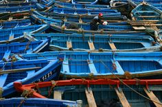 Blue & a Splash of Red Calming Colors, My Favorite Color, Morocco, Travel Photography, Ocean, Boat, Places, Red, Soft Colors