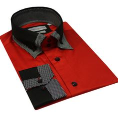 Italian Design Men Formal Casual Shirts Designed High Collar Red Colour