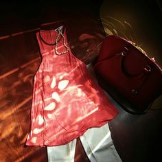Coral tank Leather on neck & arms. A little wide on the bottom. Back zipper goes down about 5in. Down Zara Tops Tank Tops