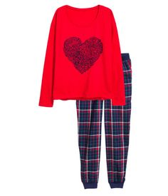 Schlafshirt und Hose | Rot/Herz | Damen | H&M DE