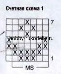 Жаккардоаый узор А: число петель кратно 6+1+2 кром. Вязать лиц. гладью по счетной схеме 1