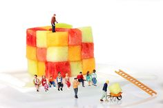 little people art | ... - Watching Fruit Construction Little People On Food Fine Art Print