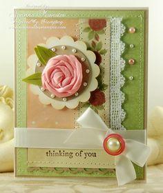 Beautiful ribbon rose card by Joanna Munster