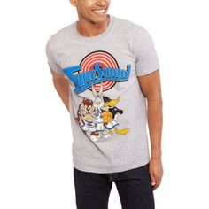 Looney Tunes Men's Tune Squad Short Sleeve Graphic Tee T-Shirt, Size: Medium, Gray