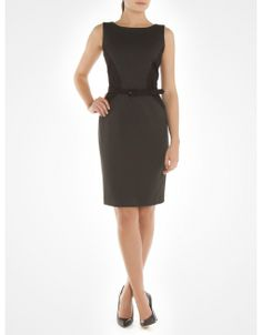 Sleeveless cinched dress with belt - Grey Dresses Ryan JACOB Grey Dresses, Dresses For Work, Formal Dresses, Boutique Dresses, Work Wear, How To Make, How To Wear, Canada, Belt