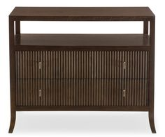 Haven Bachelor's Chest | Bernhardt 346-230 Figured Flat Cut Walnut veneers Brunette finish Open top compartment Two drawers Anti-tip kit $1,084