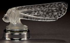 R. LALIQUE CLEAR AND FROSTED GLASS PETITE LIBELULLE MASCOT WITH CHROME COLLAR . Circa 1928. Engraved: R. Lalique