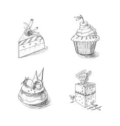 Hand drawn confections dessert pastry bakery vector doodles by Undrey on VectorStock®
