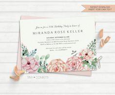 adult birthday invitation, birthday invitation for women, floral birthday invitation, vintage birthday invitation, flowers, vintage, instant by TinyConfetti