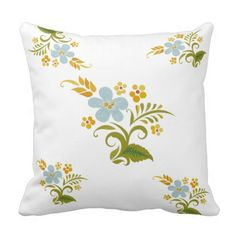 Square Pillow Green Blue Floral