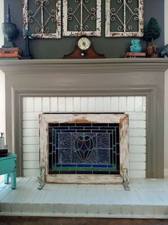 hide your ugly fireplace behind this easy diy made of weathered rh pinterest com  fireplace cover up screen