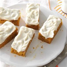 Pumpkin Bars Recipe -Pumpkin bars with cream cheese frosting are the ultimate fall treat. But my family likes them so much, they ask me to make them all year long! —Brenda Keller, Andalusia, Alabama