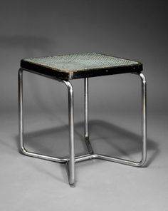 Chromed Tubular Metal, Lacquered Wood and Nylon Mesh Stool, Steel Furniture, Modern Furniture, Bauhaus Chair, Antique Jewelry, Vintage Jewelry, Marcel Breuer, Tubular Steel, Stools, Chrome