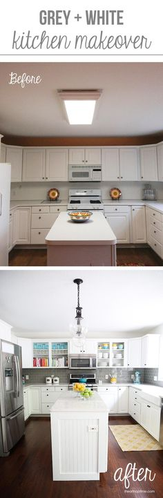 White and grey kitchen makeover on iheartnaptime.com -love the pops of color! Fun before and after!