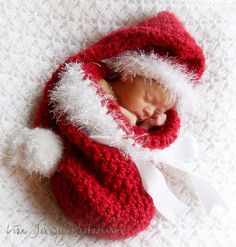 Handmade Christmas Baby Cocoon & Long Stocking Hat with Fuzzy Trim - 3 Looks