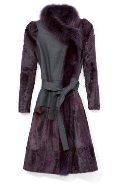 Carolina Herrera Lambskin Fur Coat Felt Body And Fox Fur Trim on Moda Operandi Long Fur Coat, Fox Coat, Purple Coat, Fabulous Furs, Carolina Herrera, Fur Trim, Couture Fashion, Mantel, Fox Fur