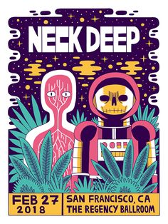 Gig posters created for the band Neck Deep's 2018 American tour