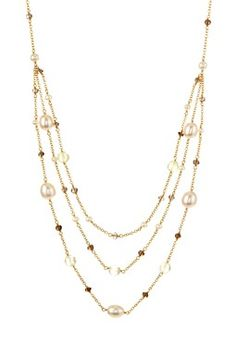 Smokey Quartz, Prehnite & 3-7mm Freshwater Pearl Necklace