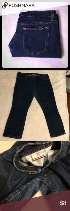 Tommy Hilfiger Dark Wash Cropped Jeans Great condition dark wash crop jeans by Tommy Hilfiger. Size 14 crop these have an extremely comfortable fit and are perfect for spring sandal/flip flop weather! Signs of wear on the crotch, but otherwise great condition!  Length: 35 inches  Accepting offers💕 Tommy Hilfiger Jeans Ankle & Cropped
