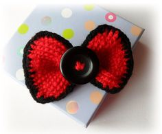 Crochet Red Bow Brooch Tie Pin Hair Accessory by CraftsbySigita,