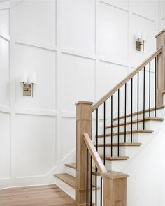 Timeless & simple make for a beautiful staircase ✨ . Stair Paneling, White Paneling, Wall Panelling, Staircase Railings, Staircase Design, Staircase Molding, Bannister, Staircases, Foyer Mural