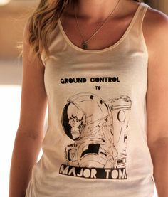 Astronaut Skeleton // Ground Control to Major Tom // David Bowie // Graphic Screenprint Tank Top // Ladies Style & Fashion by SargentIllustration, $30.00