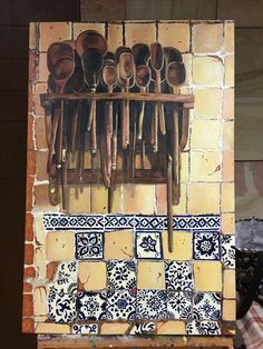 Kitchen wall. Oil painting on canvas 70 X 90 cm. By Elena Torres.