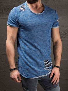 K&B Men Ripped Destroyed Deep Neck T-shirt - Blue