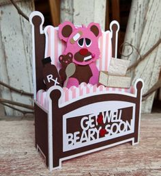 Get Well svg box card purchased through Etsy Fun Fold Cards, 3d Cards, Cool Cards, Kirigami, Exploding Box Card, Album Scrapbook, Pop Up Box Cards, Stationery Craft, Interactive Cards