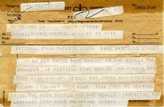 Jean-Luc Godard, telegram to British Film Institute, 1968 Waterloo London, Letters Of Note, Office Stamps, Jean Luc Godard, Film Institute, I Sent You, Prefixes, France, Thought Provoking
