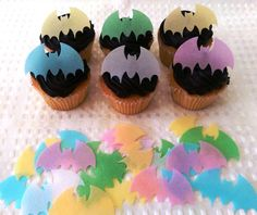 40 Edible Bat Batman Halloween Spooky Party Cupcake Topper Cake Decoration