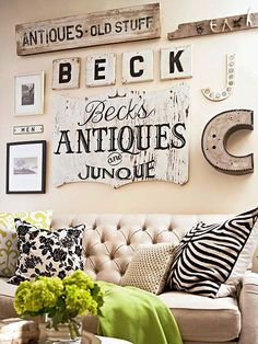 Sign It - Weathered signs and memorabilia are perfect for creating gallery walls. Antique signs add character to any space, big or small. For a more cohesive look, use pieces that are in the same color family. If an eclectic look is the goal, pieces can be different shapes, colors, and sizes. The key is to capture the tarnished style that characterizes flea market charm.