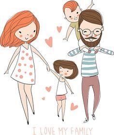 Love My Family, Cute Family, Happy Family, Family Illustration, Illustration Art, Cartoon Familie, Illustration Mignonne, Family Drawing, Family Sketch