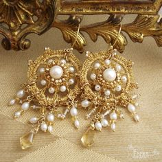 Serenissima Bridal Chandelier Earrings | Gold Lace, Citrine, Freshwater Pearls