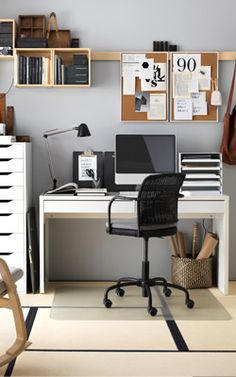 Bureau secr taire en bois placage ch ne et blanc mat focus for Minimalisme rangement