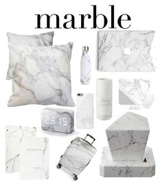 """""""Marble """" by sabrinawimer on Polyvore featuring interior, interiors, interior design, home, home decor, interior decorating, russell+hazel, CalPak, S'well and Native Union"""