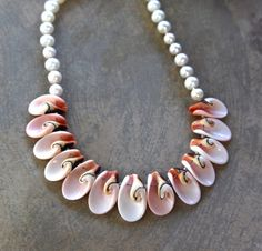 Pink Shell and Pearl Necklace Two Delicate Pink and Cream Luahanus Shell Petals with Pearls Beach Bridal Jewelry Pink Pearl Necklace, Beaded Necklace, Wave Jewelry, Pearl Beach, Pink Agate, Gifts For Nature Lovers, Bridal Jewelry, Shells, Delicate
