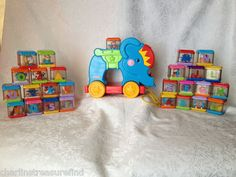 Fisher Price Peek A Blocks Lot ABC Elephant Circus Sounds 27 Blocks