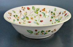 James Kent Old Foley Large Serving Bowl Strawberry with Butterfly Green Rim