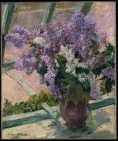 Mary Cassatt, Lilacs in a Window(Vase de Lilas a la Fenetre) 1880-83 on ArtStack #mary-cassatt #art