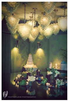 beautiful glass bulbs for a Lovely wedding ceiling