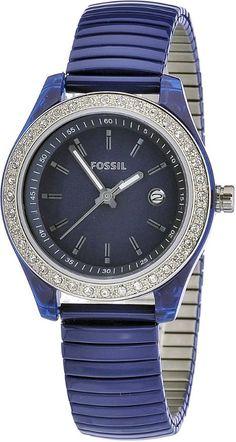 Fossil Women's ES2910 Blue Stainless Steel Expandable Bracelet Blue Steel Case Blue Dial Crystallized bezel Watch