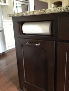 Built In Paper Towel Holder- such a small detail, but so smart to save counter space!