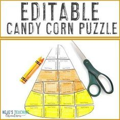 EDITABLE Candy Corn Puzzle: Make a Thanksgiving Craft or Activity on ANY Subject | 1st, 2nd, 3rd, 4th, 5th, 7th, 8th grade, Activities, Autumn, English Language Arts, Fun Stuff, Games, Homeschool, Math, Middle School Halloween Math, Halloween Activities, Autumn Activities, Hard Puzzles, 5th Grade Classroom, Special Education Classroom, Critical Thinking Skills, Math Centers, Math Activities