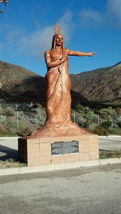 Indian statue, points the way. San Bernardino National Forest, Lake Arrowhead, Spring Resort, Hot Springs, Hotels And Resorts, Playground, Statue Of Liberty, 1920s, Native American