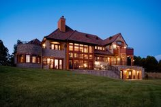 love all the windows in this mountain home