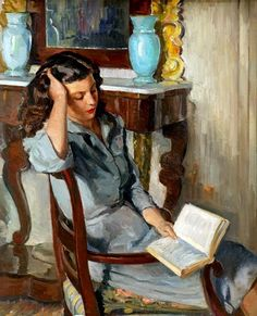 huariqueje:  Reading  -   Rafols-Culleres, Alberto   Catalan  1892-1986 Oil on canvas