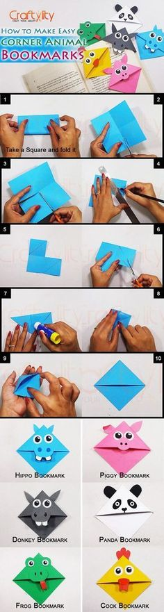 this post, you will find step by step instructions on How to make Cute Animal Corner Bookmarks, which are super easy and is also fun. Bookmark Craft, Diy Bookmarks, Corner Bookmarks, Origami Bookmark, Bookmark Ideas, How To Make Bookmarks, Diy For Kids, Crafts For Kids, Paper Art